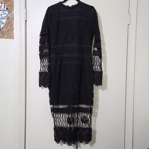 Boohoo Black Lace Panelled Midi Dress